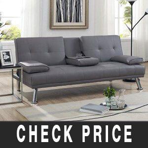 Naomi Home Futon Sofa Bed with Armrest