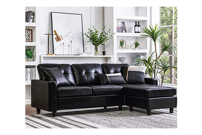 HONBAY Faux Leather Sectional Sofa Couch