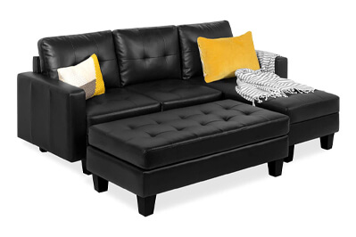 Best Choice Tufted Faux Leather Sofa Couch