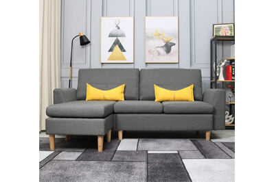 Living Furniture Fabric L-Shaped Sofa
